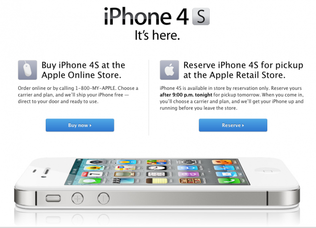 If You Want An iPhone 4S From An Apple Retail Store, You're Going To Have To Reserve One