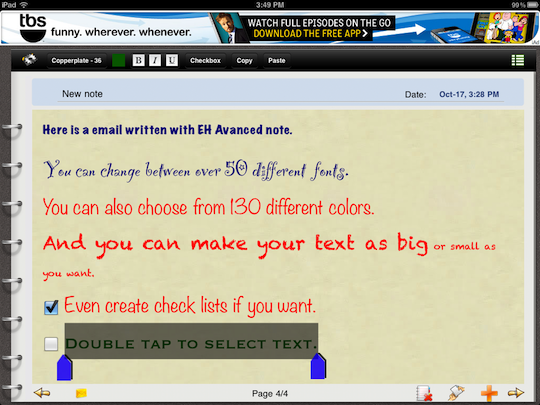 Send color email with different fonts on iPad