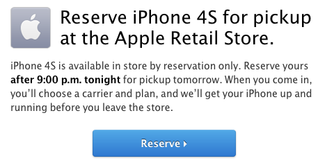 iPhone 4S Sales Now Reservation-Only at Apple Retail Stores in U.S. and Canada