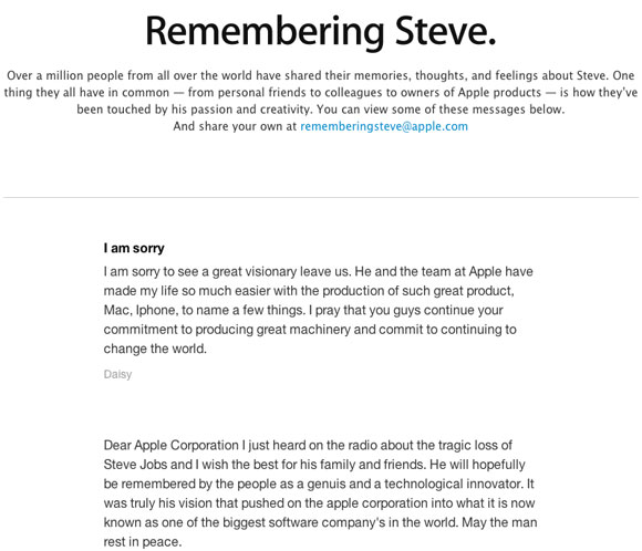 "Apple Posts ""Remembering Steve"" Tributes from Fans"