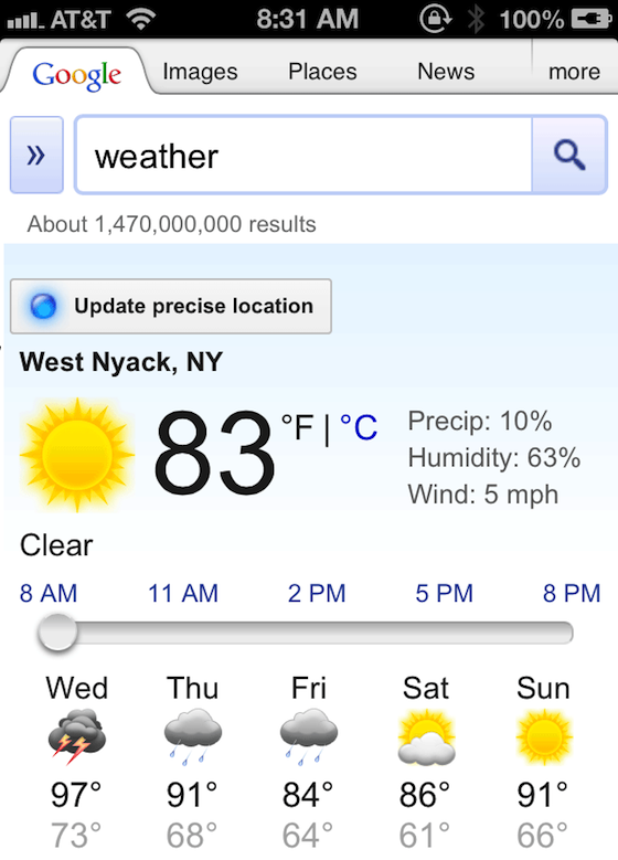 Google weather search is enhanced on mobile devices