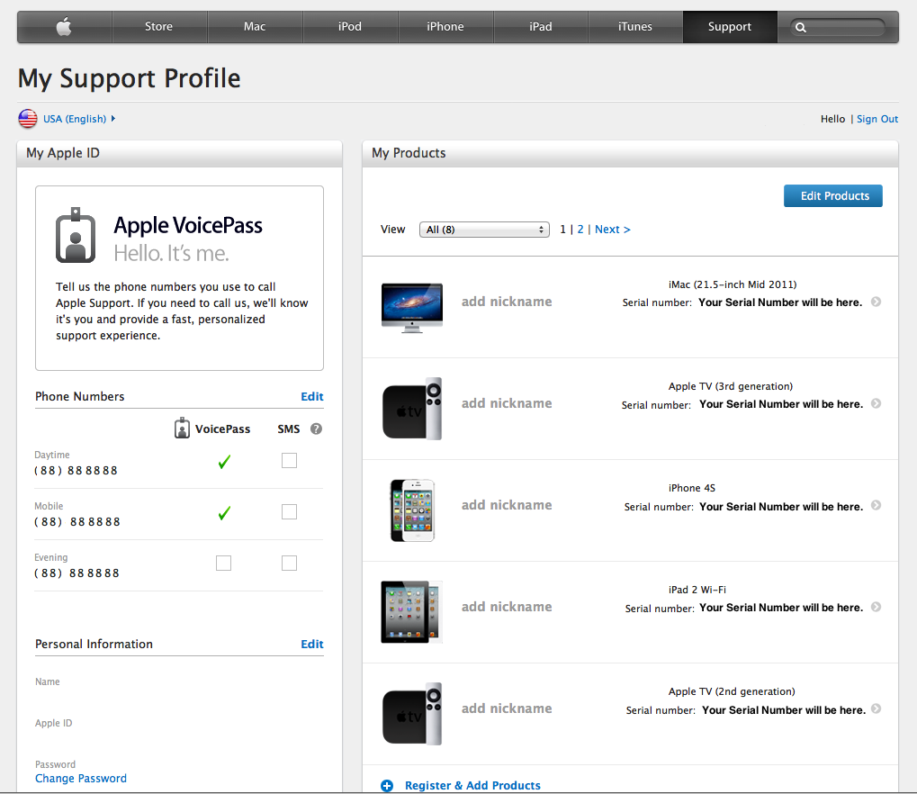 Find Apple products registered to your account